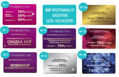 привилегии VIP-программы Фаберлик на разных уровнях